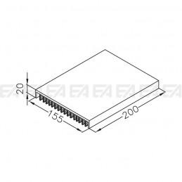Dissipatore in alluminio DIL210.0200 disegno tecnico