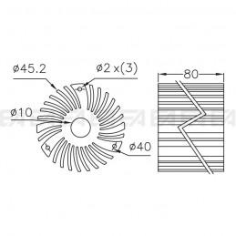 Dissipatore in alluminio DIS007.0080.010 disegno tecnico