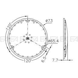 Protection cover LL073.000 technical drawing