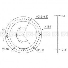 PCB LED board CL038 technical drawing