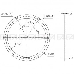 PCB LED board CL040 technical drawing