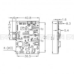 Electronic control board CTC011A5 technical drawing