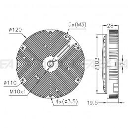 110-120Vac LED module MT193 technical drawing