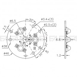 CL036 PCB RGB LED board technical drawing