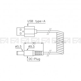 USB Type-A / DC-plug cable CAV021.00 technical drawing