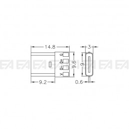 USB Type-C connector technical drawing