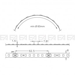 LED strip STF128 technical drawing