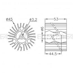 Dissipatore in alluminio DIS1163.0530.011 disegno tecnico