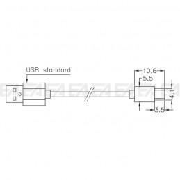 Cavo USB Type-A / Type-C CAV020.00 disegno tecnico