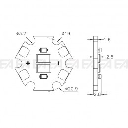 CL086 PCB LED board technical drawing