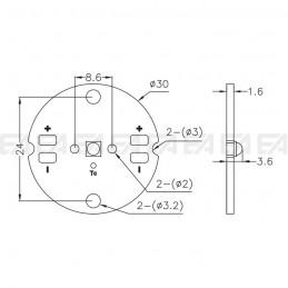 Disegno tecnico scheda LED CL105
