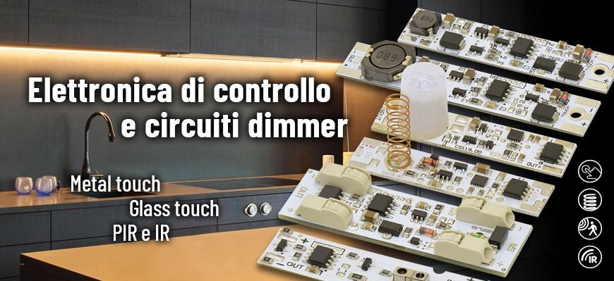 Sensori e dimmer per strip LED e schede LED in tensione costante 12-24Vdc