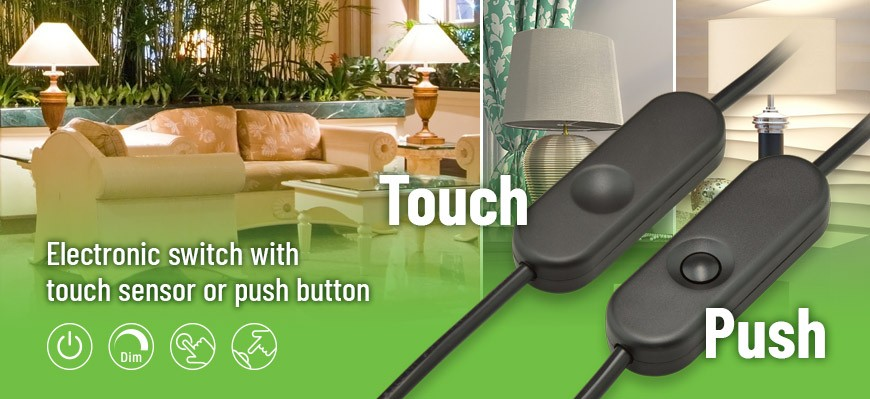 Electronic switch with touch sensor or push button
